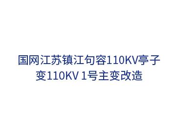 国网江苏镇江句容110kV亭子变110kV 1号主变改造
