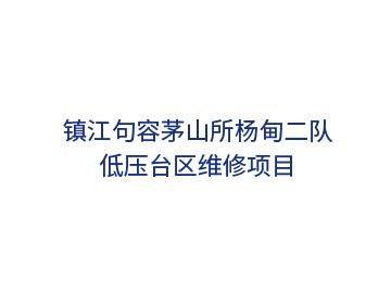 镇江句容茅山所杨甸二队低压台区维修项目