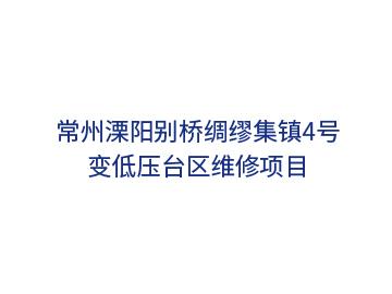 常州溧阳别桥绸缪集镇4号变低压台区维修项目